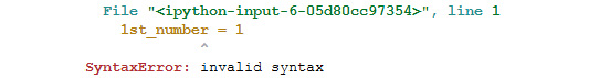 Figure 1.4: Output throwing a syntax error
