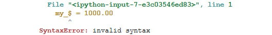 Figure 1.5: Output throwing a syntax error