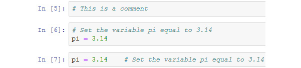 Figure 1.6: Output from the Jupyter Notebook using comments